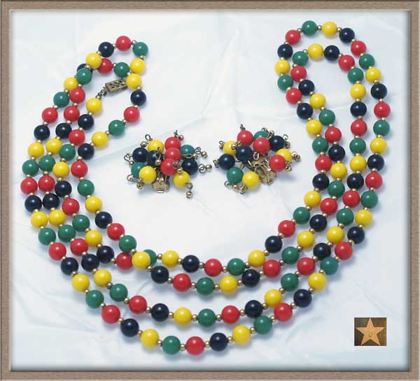 "Older 60"" Loooong Multi-Color Bead Necklace & Fireworks Earrings Set!"