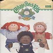 "Original Butterick #6508 CABBAGE PATCH Kids 16"" Doll Sleepwear~UNCUT, 1984"