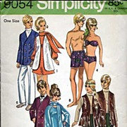 "Simplicity #9054 BARBIE & KEN 11 1/2"" Fashion Doll Wardrobe~UNCUT, 1970"