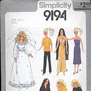 "Simplicity #9194 BARBIE & Cher & Farrah 11 1/2""  & 12 1/2"" Fashion Doll Wardrobe~Com"