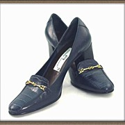 Vintage '60s AIGNER Navy Brazilian Crocodile Leather Shoes~Chunky Stacked Wood Heels! Sz 5.5 M