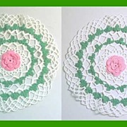 "Two Beautiful Crocheted White & Green Pink ROSE 11"" Matching Doilies"