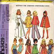 McCall's #3429 BARBIE Teen Fashion Doll Trousseau Pattern~Complete, 1972