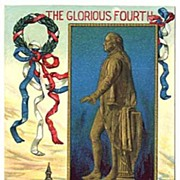 Patriotic 'The Glorious Fourth' President George WASHINGTON'S STATUE Embossed Gilt ...