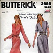 Butterick #3656 Fab OBI-Belt Mock Wrap Dress~Sz B (12-14-16)~UNCUT, 1978