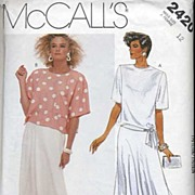 "McCall's #2420 JONES NEW YORK Side Tie Blouse & Circle Skirt~Size 12/Bust 34""~UNCUT, 1986"