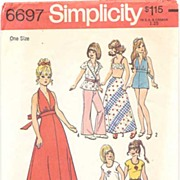 "Simplicity #6697 Hippie BARBIE 11 1/2"" Fashion Doll Wardrobe~Halter Jumpsuit, Bell Bottom"