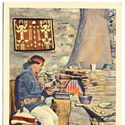 Wonderful Linen NAVAJO Silversmith-Grand Canyon Postcard~Fred Harvey Railroad Hotels, Card H .