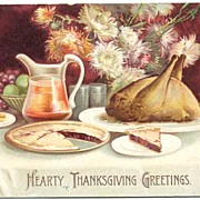 Signed Ellen Clapsaddle Embossed 'Hearty Thanksgiving Greetings' Delicious Turkey Dinner! 1907