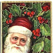 Beautiful 1907 Full-Bearded German Gel SANTA Embossed Postcard 'Loving Christmas Wishes', Seri