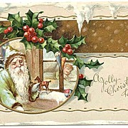 Beautiful 1912 Green Suit German BELSNICKLE SANTA Embossed Postcard~Tiny Rocking Horse & Sleep