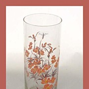 Beautiful Vintage Hand Painted 'Pasabahce' Turkish Glass Cylinder Vase