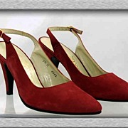 Classic Wine Suede Leather FRANK CARDONE~New York Sling Back Pump Shoes~Size 7.5 NOS