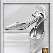 Sleek '70s Silvery Sling Back RHINESTONE V-Strap Evening Pumps~Size 9B