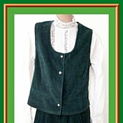 Great Vintage Dark Green CORDUROY Vest & Culottes Set! Size 10~Van Heusen For Her