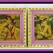 Two Nostalgic Old HULDAH CHERRY Oilette On Board Glamour Ladies~Framed