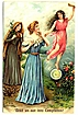 1907 'Lead Us Not Into Temptation!' Saints & Angels Embossed Religious Postcard~ASB, Made in Germany