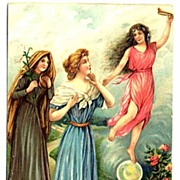 1907 'Lead Us Not Into Temptation!' Saints & Angels Embossed Religious Postcard~ASB, Made in .