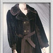 Fab Warm '70s TISSAVEL~France Faux Fur & Suede Leather Belted Coat