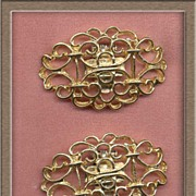 Ornate Scrolled Vintage Oval Shoe Clips~S.G. D'Or Patent Pend.