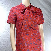 Lovely 'Margaret Smith of Gardner Maine' Vintage Dress~Soft Floral, Pussycat Bow! Size 10