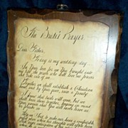 Beautiful Old 'BRIDE'S PRAYER' Decoupaged Wedding Plaque~Sentiments by Beverly De Block