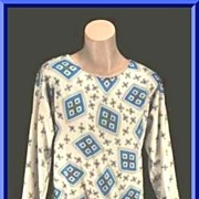 Funky Op Art VERA 'Floating Windows' Blouson Pullover Top~Sz 8