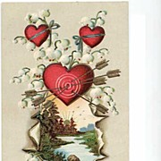 Two So Pretty 1909 Dogwood & Lily of the Valley & HEARTS 'To My Valentine' Embossed Postcards~