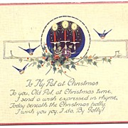 Unusual & Beautiful 'TO MY PAL AT CHRISTMAS' Christmas Postcard~Bluebirds & Lit Candelabra!
