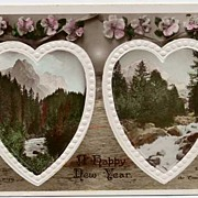 Beautiful 1904 Tinted RPPC Mountain & Stream in Hearts NEW YEAR Postcard~Rotary Photographic,