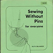 'Sewing Without Pins~For Everyone' Sewing Book~R. Oblander 12/77 SC Sew Fit Method