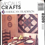 McCall's #8209 Classic Quilted LOG CABIN Motif Kitchen Accessories Pattern~1986