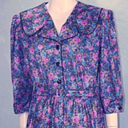 "Wonderful LARGE SIZE Whirlaway Frocks Flowered Shirtwaist Dress~42""  Bust!"