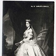 Dramatic RPPC Portrait Postcard of Empress Carlota Amalia~EKC SELLO, 1946 Tarjeta Postal