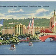 HTF LAKES OF THE NATIONS 'Golden Gate International Exposition~San Francisco' 1939 Linen ...