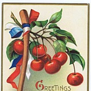 Patriotic Signed ELLEN CLAPSADDLE 'Greetings On Washington's Birthday' Cherries & Hatchet 1909