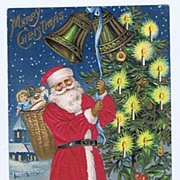SILK Robed 1907 SANTA Rings The Bells Embossed Postcard~Toy Basket Pack, Candle-Lit Tree~Germa