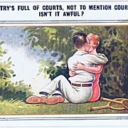 Smooching Tennis Players 'The Country's Full of Courts..' 1920 Humor Postcard, Bamforth Co. Se