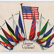 Nationalistic UNITED FOR VICTORY WWI Allied Flags Postcard~S. Bergman 1917