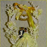 Festive Vintage Hard To Find HISPANIC Latin Wedding Cake Topper~Flowers, Lace & Pearly Embelli