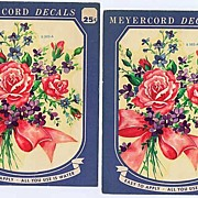 Two Beautiful Pink Roses & Violets Bouquet MEYERCORD Large '50s Decals~Mint & Sealed!