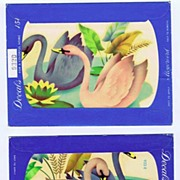 Two Lovely Vintage SWANS & Lotus Flower '50s Small MEYERCORD Decals~Mint & Sealed!