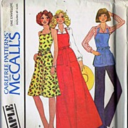 McCall's SAMPLE Pattern~Adorable Butcher Apron In 3 Lengths! One Size (P-L) Complete, 1975