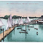 Beautiful Boats Oregon Yacht Club 'The Oaks' Portland, Oregon Postcard~Unused, EXC Circa 1910
