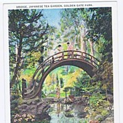 'Bridge, Japanese Tea Garden, Golden Gate Park' San Francisco Postcard~Card #32 Tichnor Qualit