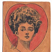 Beautifiul 1907 Nouveau Lady In A Heart Hand Painted LEATHER Postcard~Posted