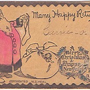 Deeply Embossed Jolly SANTA Hand Painted W.S. Heal Christmas Postcard~1907, Undivided