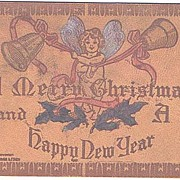 Lovely Hand Painted 1908 Leather Angel & Bells Christmas Postcard~Never Used!