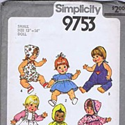 "Simplicity #9753 Sweet Small 13""-14"" Doll Wardrobe Pattern~UNCUT, 1980"