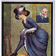 Saucy 'I've Got Money In The Bank' Lady Flashing Stocking Comic Postcard~Schlesinger Brothers
